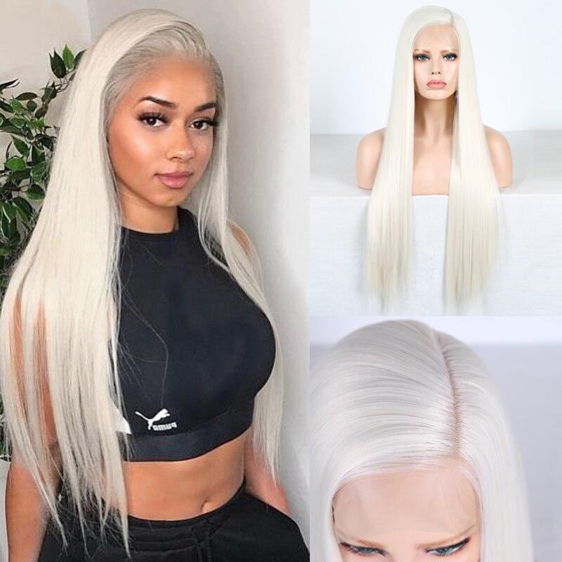 Carisma 13x6 parte do laço peruca loira longo cabelo reto peruca dianteira do laço sintético perucas resistentes ao calor para a linha fina natural feminina