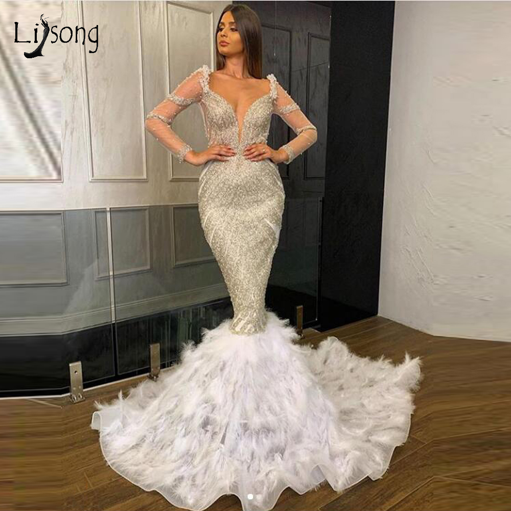 Luxurious Beaded Crystal Feather Mermaid Evening Dresses See Thru Full Sleeves Abiye Long Prom Gowns Sexy V-neck Abendkleider