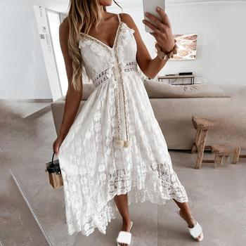 Loose Maxi Dress Summer Sexy Hollow Out Lace Women Spaghetti Strap Large Hem Dress for Dating Party Dresses Vestidos Robe Hot 1