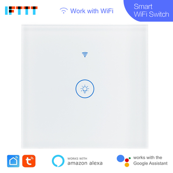 20pcs Tuya Smart Wifi Switch EU 220V 1 2 3 Gang Touch Panel Switches Wireless Remote Control Compatible Alexa Google Home