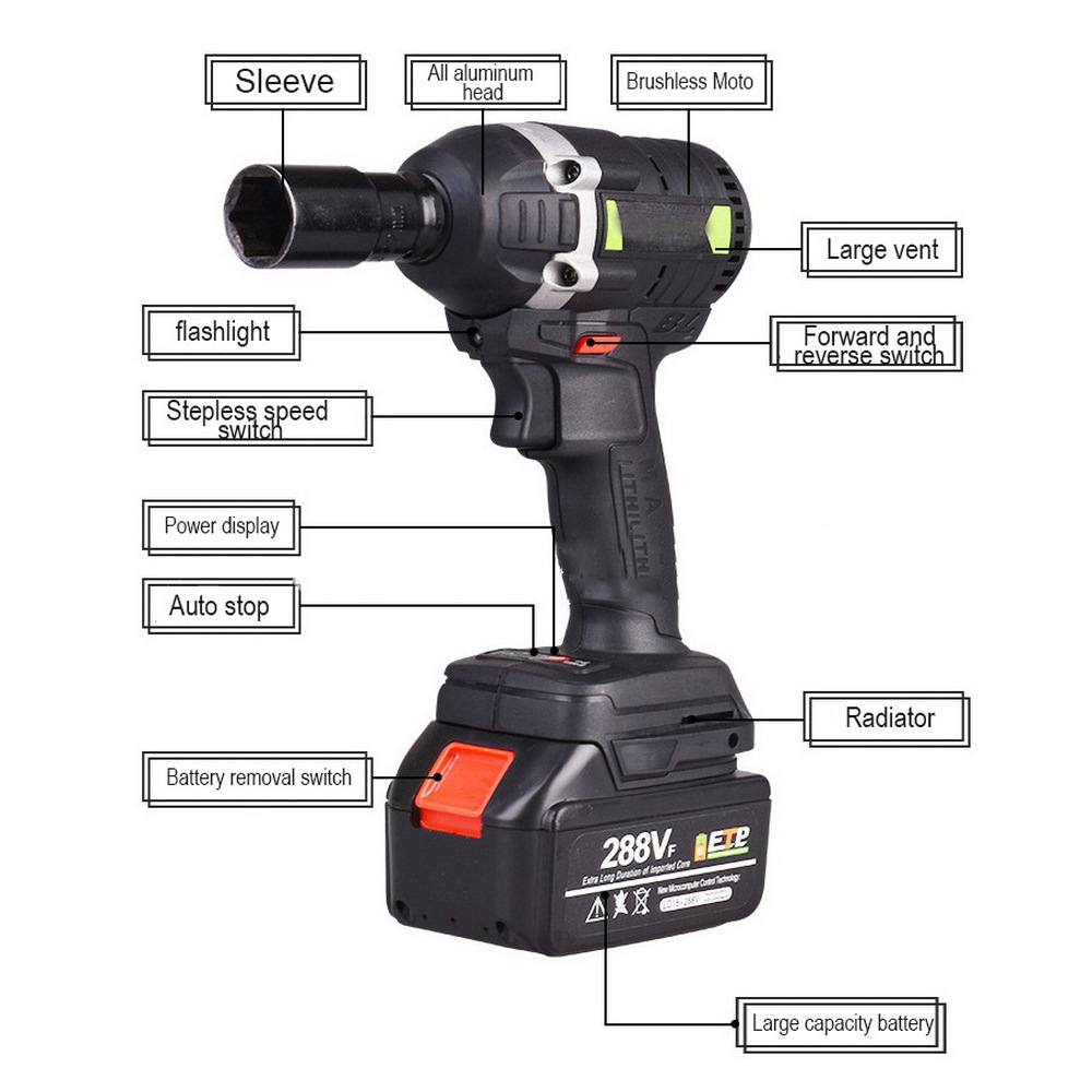 30N.m 288VF 19800mAh Cordless Electric Wrench Impact <font><b>Driver</b></font> Socket Wrench Lithium <font><b>Battery</b></font> Hand <font><b>Drill</b></font> Installation Power Tools image