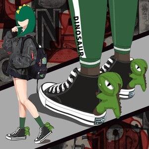 Girls Canvas Shoes Dinosaur Hi