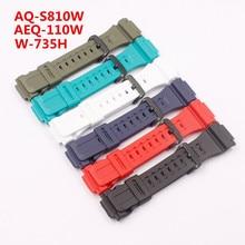 Watch Accessories Resin strap for Casio AQ-S810W/AEQ-110W/W-735H Men's Watch Strap 18mm casio w 735h 1a