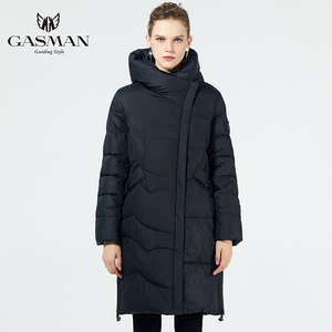Image 3 - GASMAN 2019 נשים החורף שחור מעיל בתוספת גודל אופנה דובון סלעית חם מעילי מעילי נקבה ארוך המשאף למטה מעיל 19022