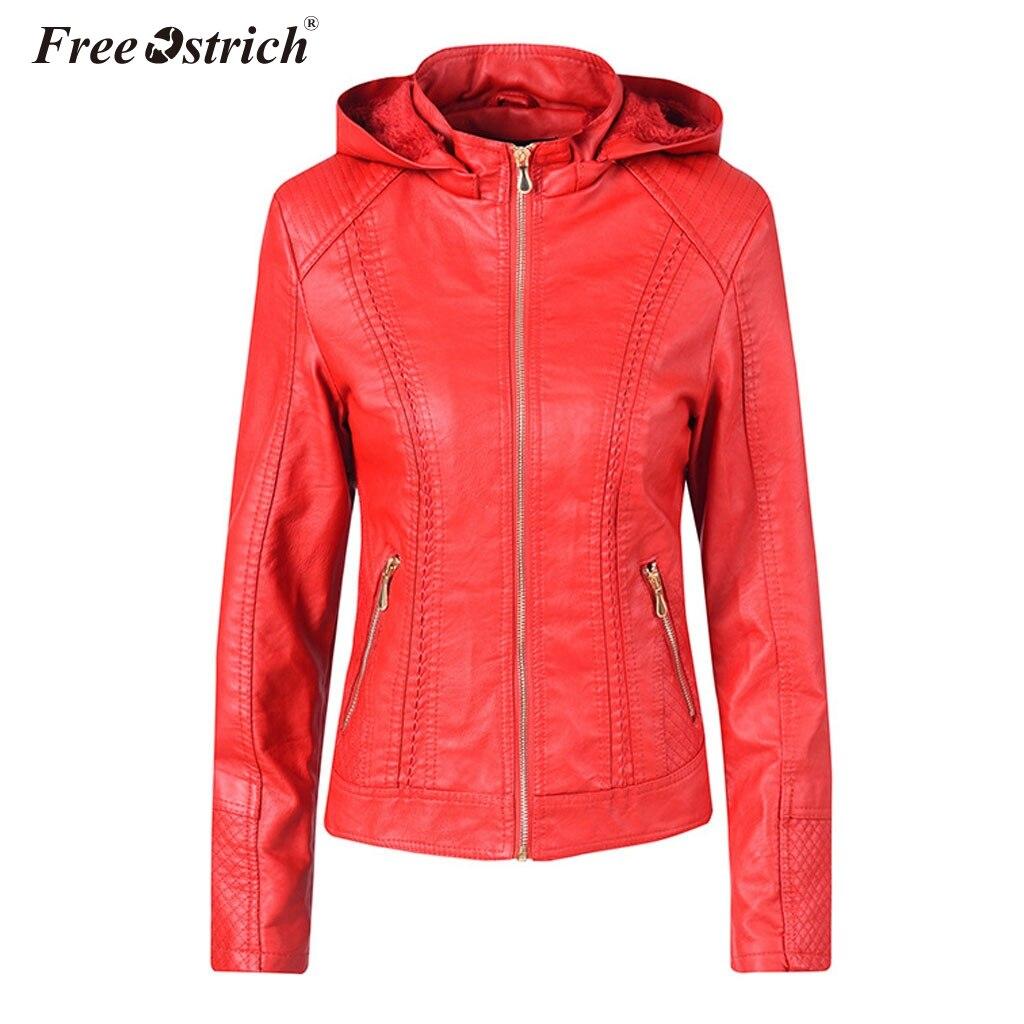 Free Ostrich Winter Faux Leather   Jacket   2019 Fashion Women's   Basic     Jackets   Hooded Slim Motorcycle   Jacket   Women Coats Female N30
