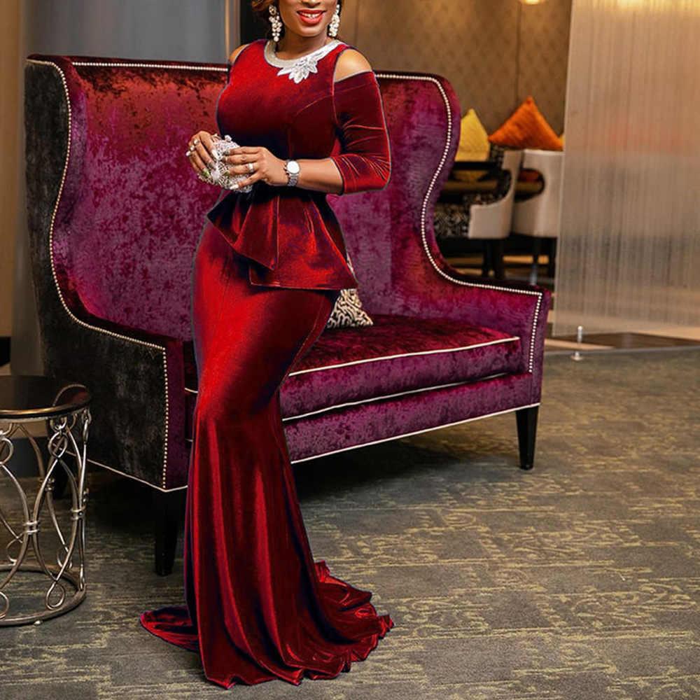 Vintage fête élégant luxe Sexy bureau dames femmes longues robes de grande taille bleu à volants moulante rétro femme soirée Maxi robe
