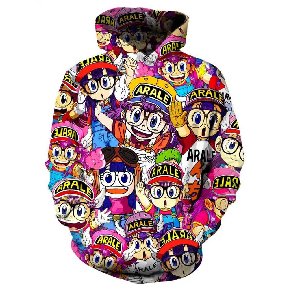 Arale/толстовки с капюшоном для девочек, милые аниме, 3D толстовки, свитшот с капюшоном с принтом для девочек, Крутое пальто, пуловер для женщин, мужчин, плюс размер, Прямая поставка