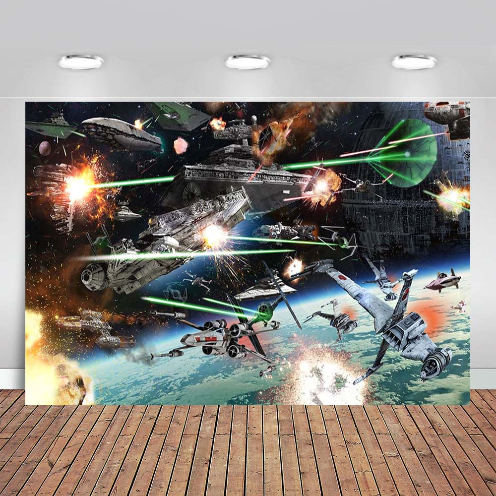 Виниловый фон для студийной фотосъемки с изображением космоса корабля смерти звездных боевых войн космического корабля мальчика на день р...