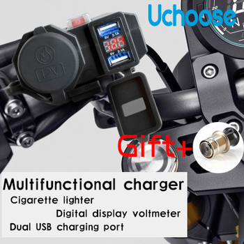 Waterproof Universal Electric Car USB Charger Motorcycle Cigarette Lighter Moto Dual USB Joint Mobile Cell Phone Charger high quality black dual double usb port car charger cigarette lighter for iphone ipad samsung cell phone charger for travel use