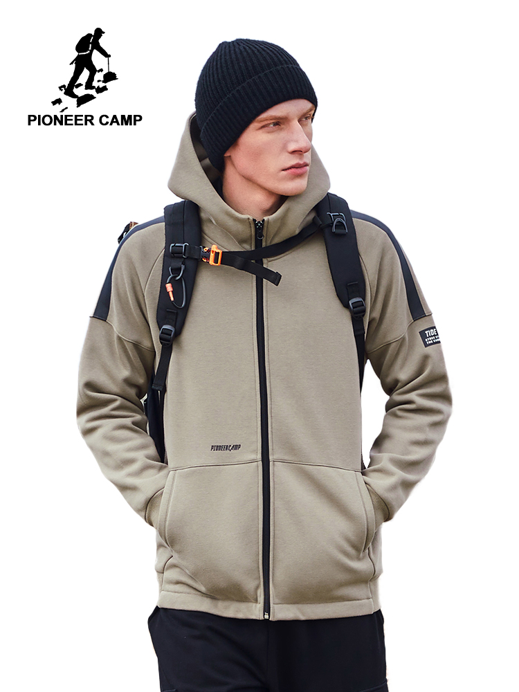 Pioneer Camp 2020 Mens Jackets And Coats Winter Warm Fleece Thick Hooded Black Khaki Men's Jacket AJK908159