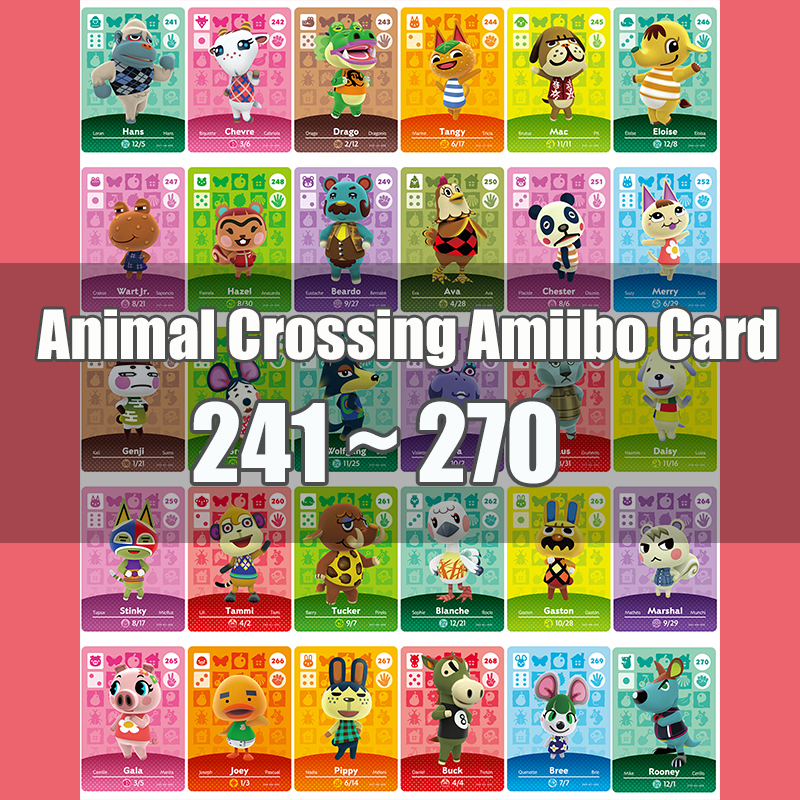 Animal Crossing Amiibo Card Animal Crossing New Horizons Game NFC Lobo Card Work For NS 3DS Game Switch Series 3 (241-270)