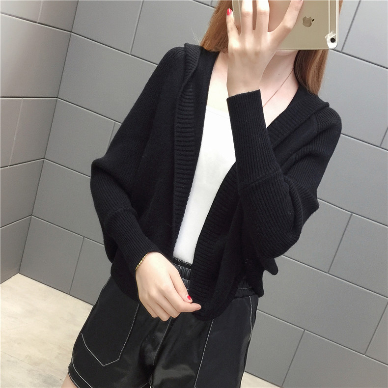 2019 Free send New style Korean loose and comfortable Autumn women Cardigan Sleeve of bat Hooded Sweater coat 139