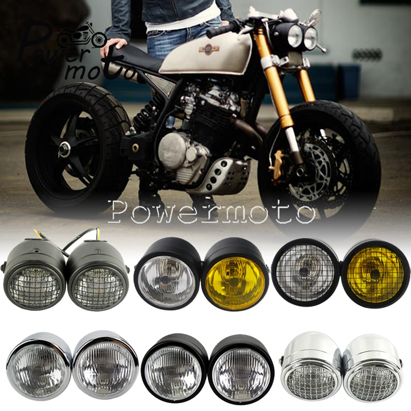 Dual Twin Dominator Headlight Mesh Grill Cafe Racer H4 Double Head Light w Mount Bracket for Harley Honda Bobber Touring Cruiser