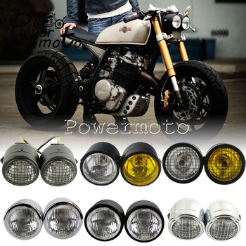 Dual Twin Dominator Headlight Mesh Grill Cafe Racer H4 Double Head Light w Mount Bracket for Harley Honda Bobber Touring Cruiser universal led angel eye projector daymaker high low beam headlight cruiser chopper cafe racer old school bobber touring