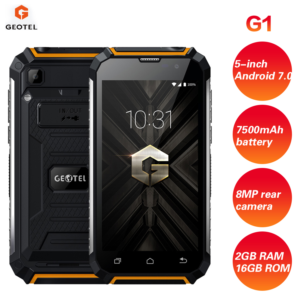 GEOTEL G1 3G Smartphone 5'' Android 7.0 2GB RAM 16GB ROM MTK6580A Quad Core 7500mAh Big Battery Waterproof Charger Mobile Phone