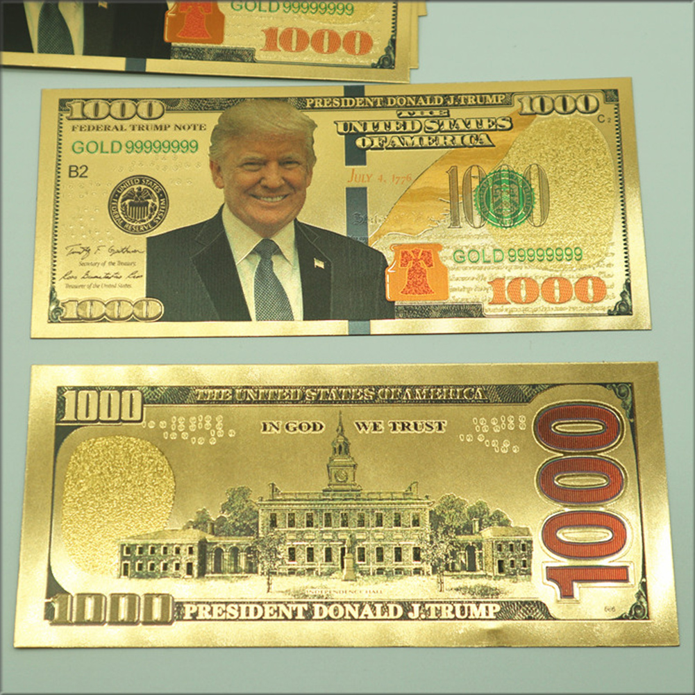 President Donald Trump $100 Dollar Bill 24K Gold Plated Foil Banknote Wedding Party Birthday Supplies