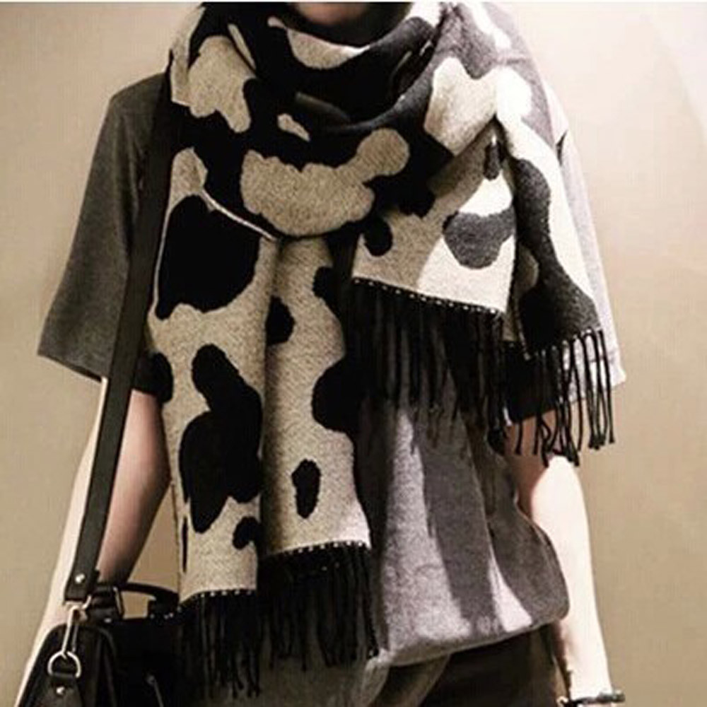 2020 New Autumn Winter Women's Winter Warm New Cow Leopard Print Cashmere Scarf Shawl Multi-Purpose  Soft Long Neck Scarf#11