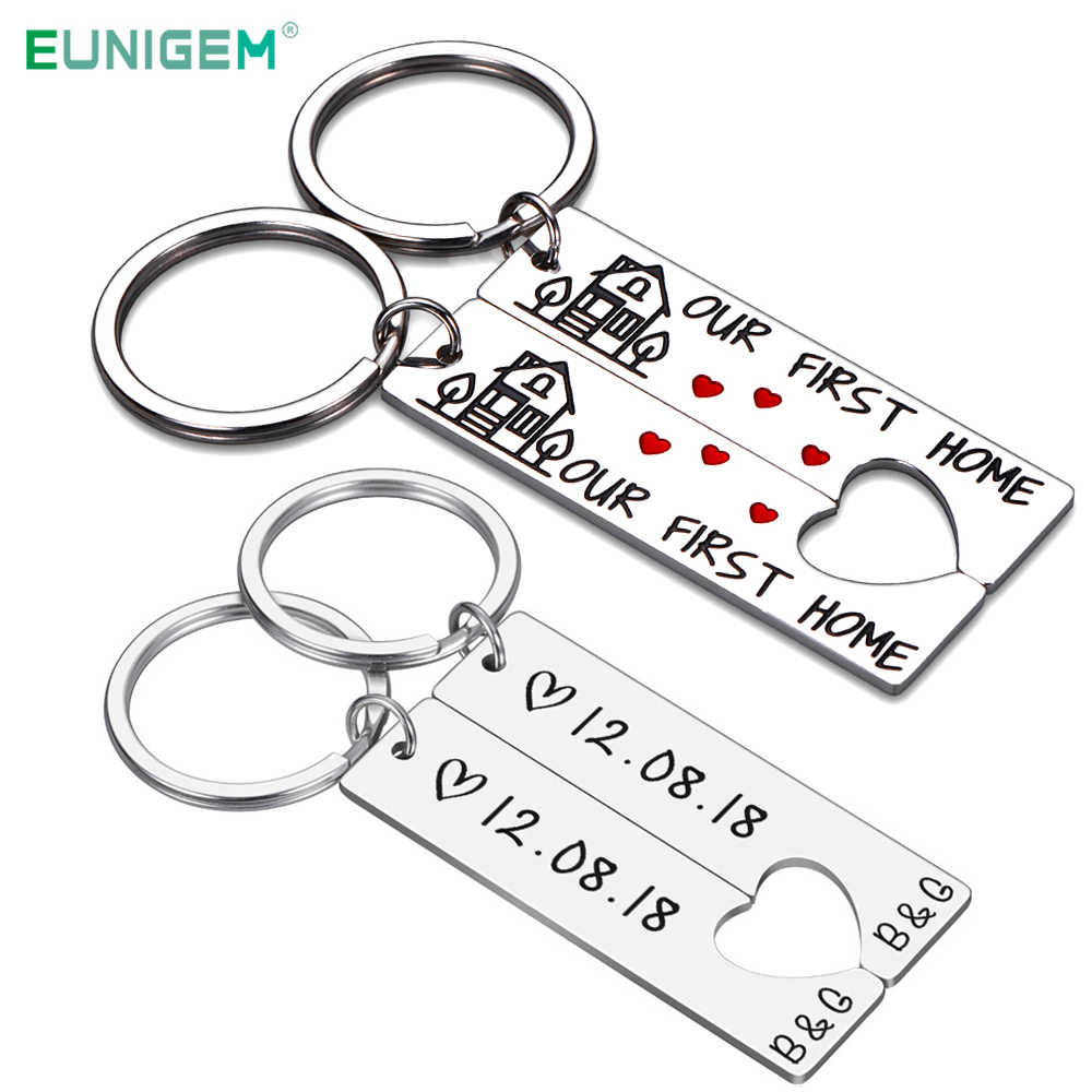 Personalized Heart Couple Keychain Set Engraved King Date and Name Love Keyring Gift for Girlfriend Boyfriends Key Chain Rings