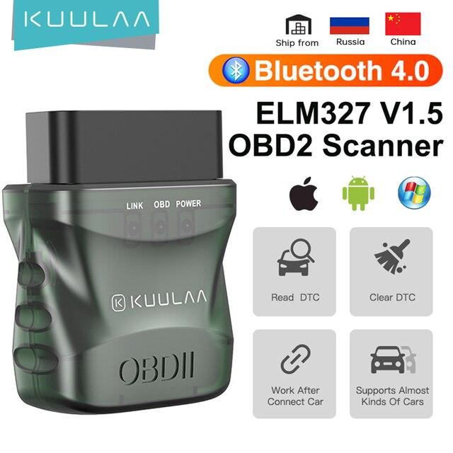KUULAA ELM327 V1.5 OBD2 Scanner Bluetooth 4.0 OBD 2 Car Diagnostic Tool for IOS Android PC ELM 327 Scanner OBDII Reader 1