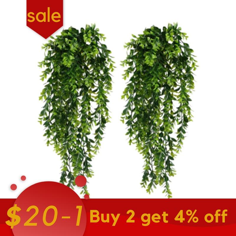 2Pcs Artificial Trailing Plants Fake Hanging Plants Faux Foliage Greenery Plant for Garden Hanging Pot Basket Decor