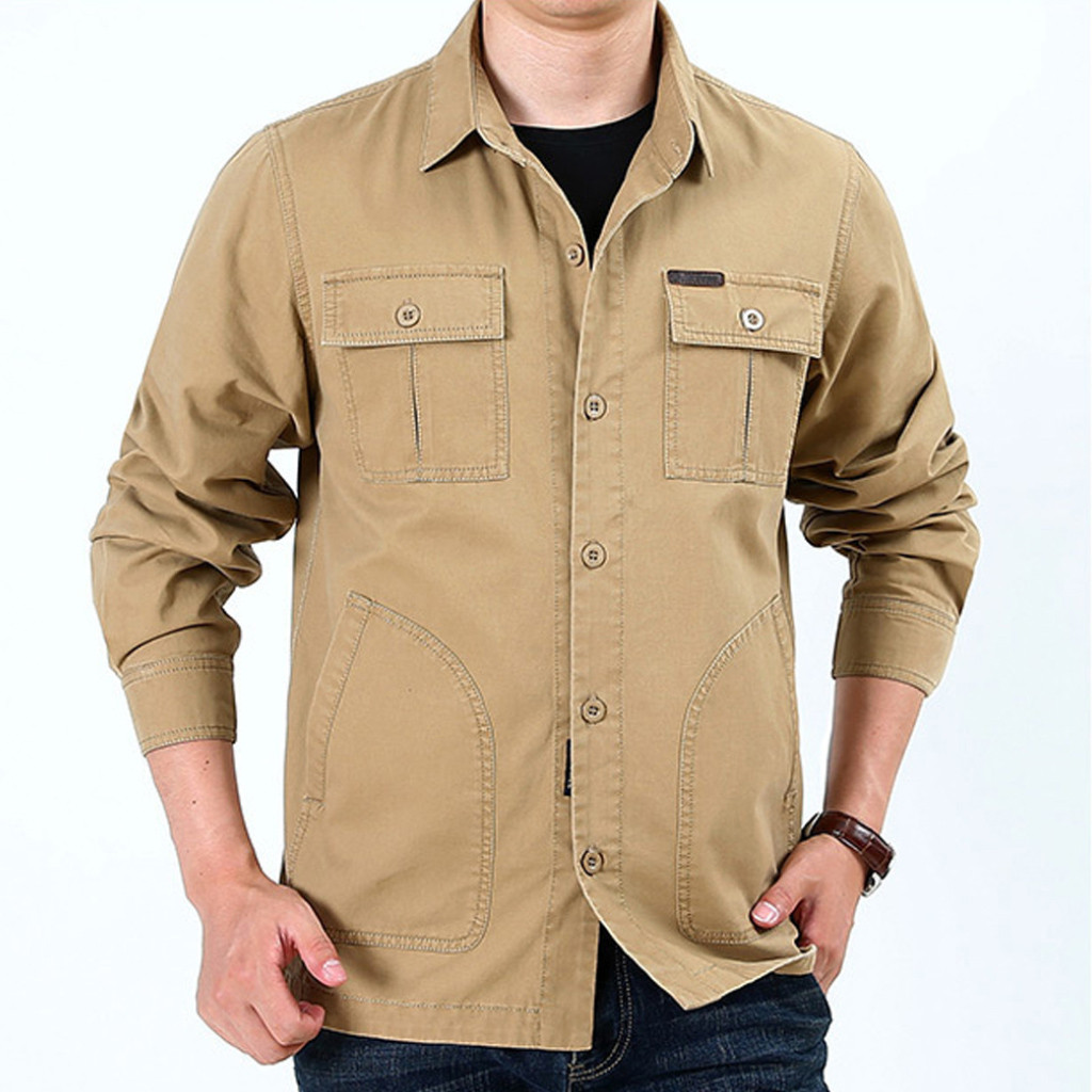 Shirt Men Tactical Shirt Solid Colour Black Shirt Men Long Sleeve Four Season Military Style Adult Men Shirts Plus Size 4XL