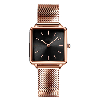 2020 Women Luxury Rose Gold Watches Fashion Square Women Watches Mesh Watchband Quartz Wristwatches No Brand Wach Montre Femme image