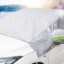 1 pc capa de neve do carro frente pára-brisa capa geada anticongelante pára-sol-3 camadas engrossado com orelha meia capa