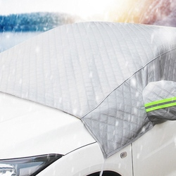 1 Pc Car Snow Cover Front Windshield Cover Frost Antifreeze Sunshade-3 Layers Thickened With Ear Half Cover