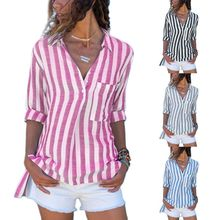 Women Roll Up Long Sleeves Blouse Buttons Lapel Collar V-Neck Shirts Vertical Stripes Asymmetric Pullover Tops with Pocket S-5XL