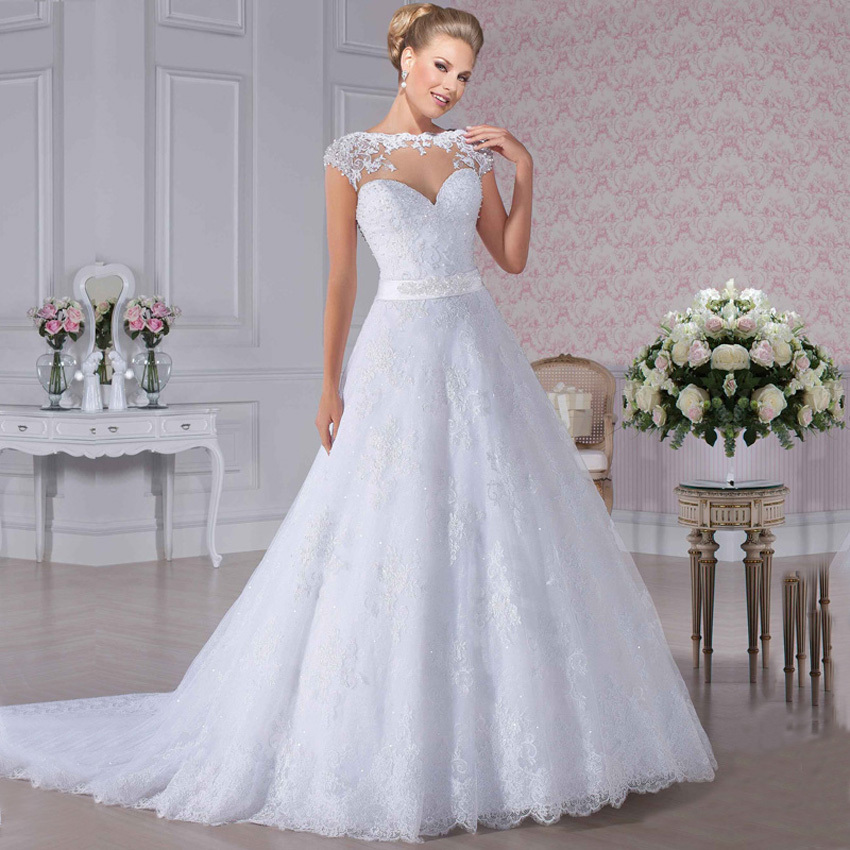 Vestido De Noiva Princesa Sexy See Through Back Lace Wedding Dress 2016 Romantic Casamento Bridal Dresses Robe De Mariage