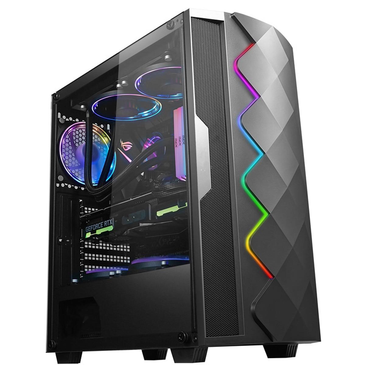 8 ventilateurs verre trempé concours électrique boîtier PC refroidissement par eau avec lumière rvb Support de carte graphique Support ATX/MATX/ITX