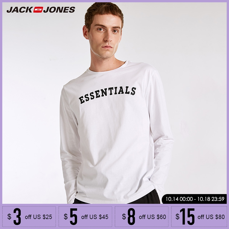 Jack Jones Brand  Regular Fit Casualhome Pajama Rib O-neck Letter Printing Long Sleeve Top T-shirt Men |2183HE501