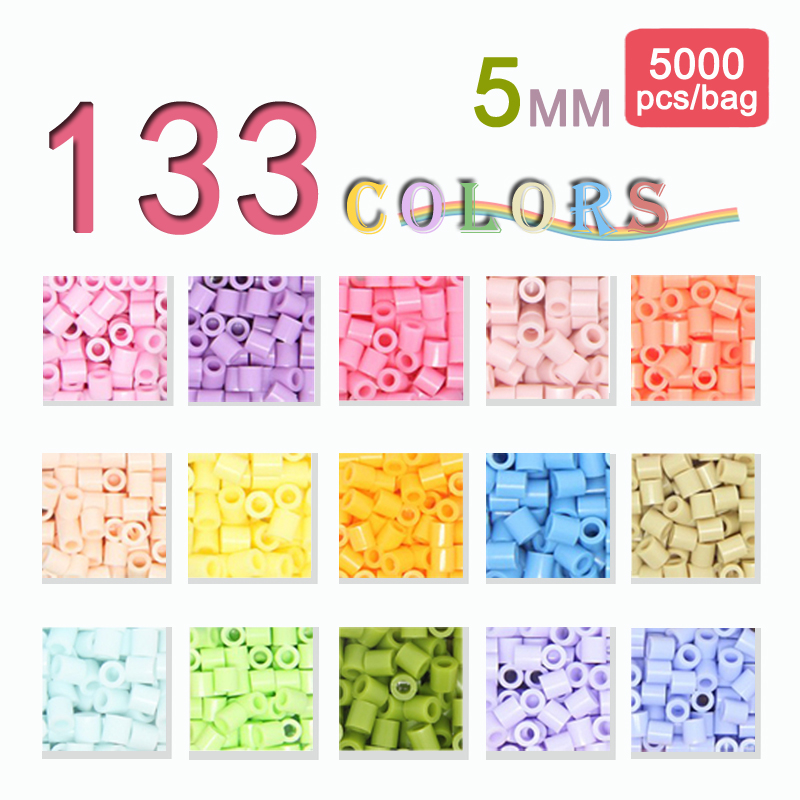 Yantjouet 5mm 5000pcs/colour 133colours OPP Bag Beads For Kid Hama Beads Diy Puzzles High Quality Handmade Gift Toy