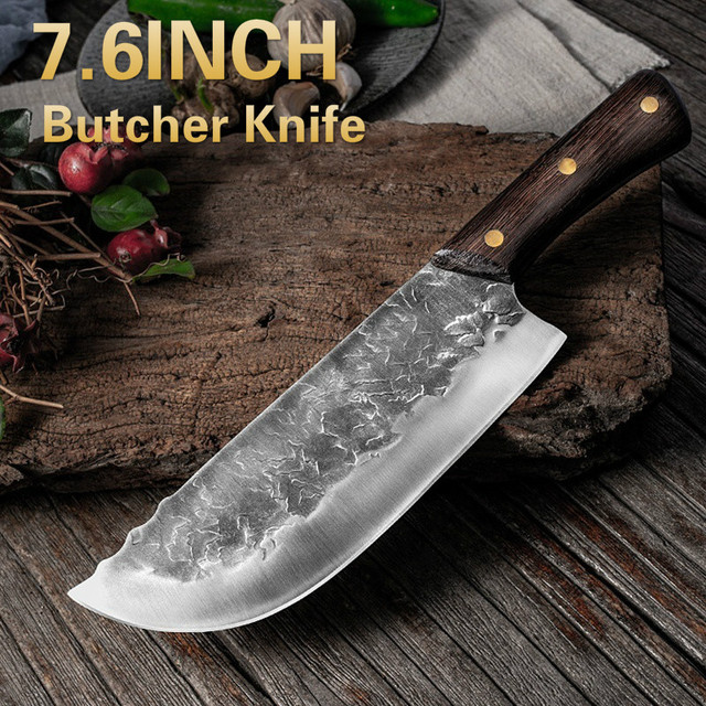Cuchillo de cocina forjado hecho a mano de 7,6 pulgadas, carnicero, picar carne, Chef chino, acero inoxidable 5CR15 1