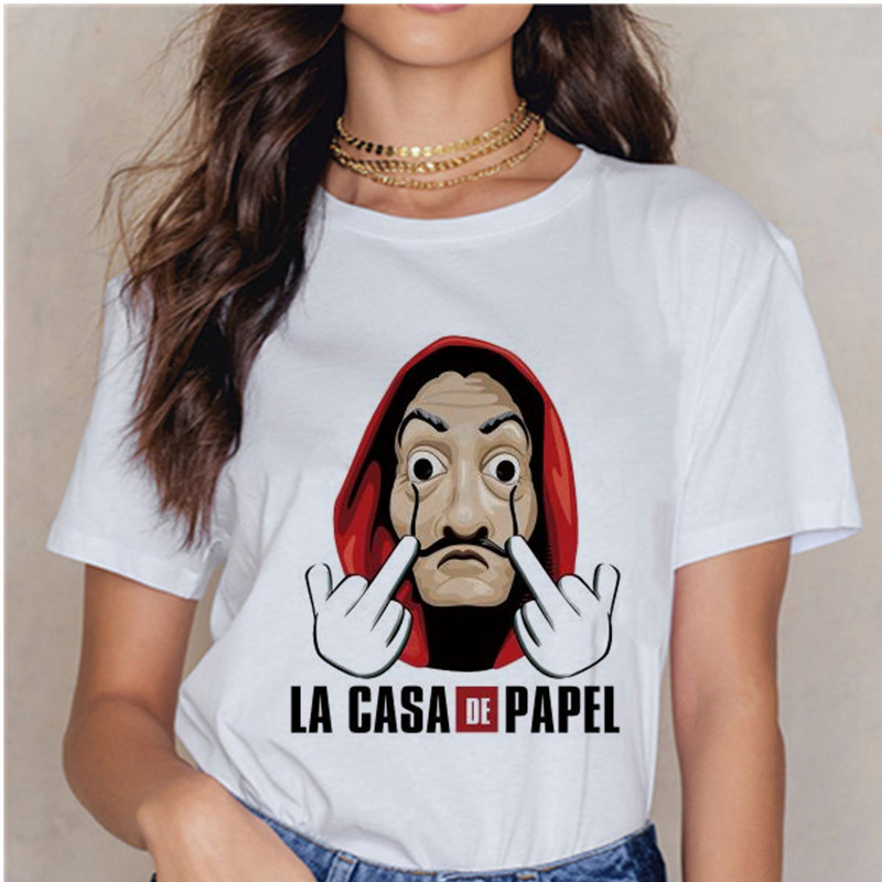 La Casa De Papel Summer 2020 Money Vogue Heist Tshirt The House Of Paper T Shirt Casual Dali Mask Woman Tshirt Female Tops