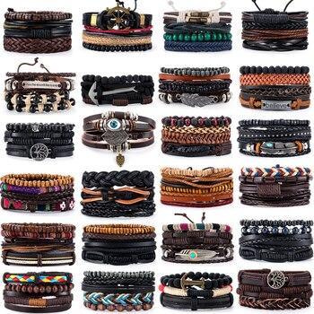 3-4 pçs/sets âncora vintage, folha, coruja pulseiras para homens moda pulseira de couro preto & pulseiras multicamadas ampla wrap jóias