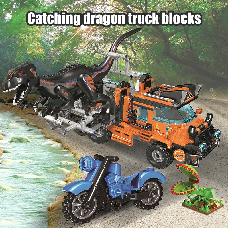Winner Capture Dinosaur Catching Truck Jurassic World Park Figures Building Blocks