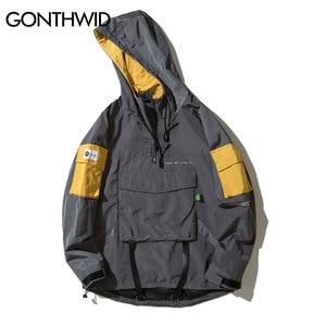Image 3 - GONTHWID ด้านหน้า Pullover เสื้อแจ็คเก็ตผู้ชาย 2019 ฤดูใบไม้ร่วงครึ่งซิป Hoodie แจ็คเก็ตชาย Hip Hop ลำลอง Windbreaker Streetwear