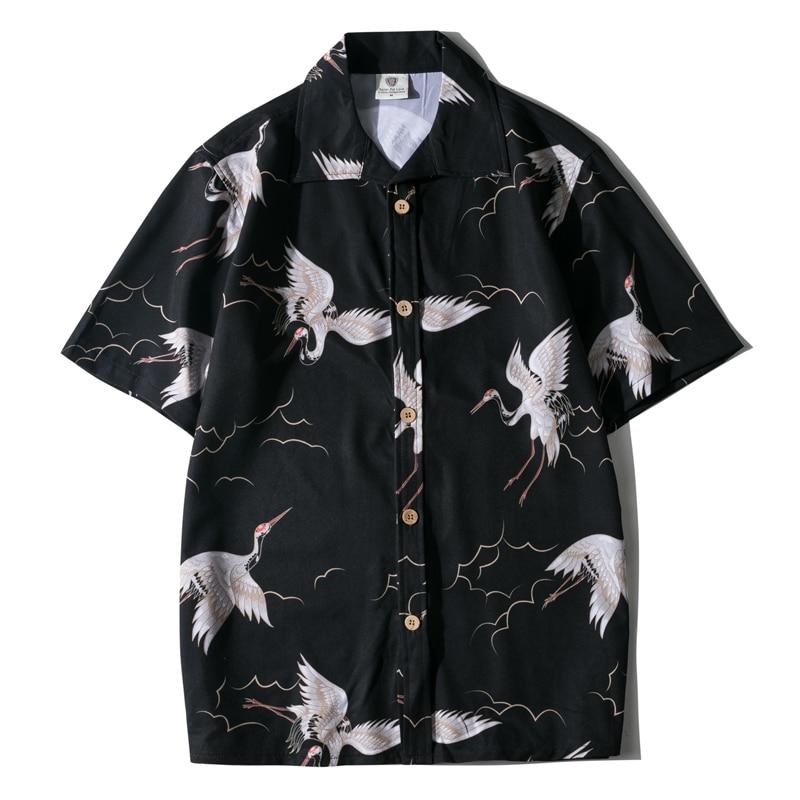 Summer Men Shirt Casual Short Sleeve Men's Shirts Hawaii Male animal Print Beach Shirt streetwear Holiday camisa hombre