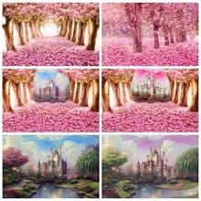 Laeacco rosa flores floresta castelo caminho crianças recém nascido retrato fotografia backdrops aniversário casamento fundos estúdio