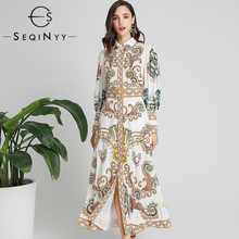 SEQINYY Long Dress 2020 Spring Autumn New Fashion Design Lantern Sleeve Vintage Flowers Printed