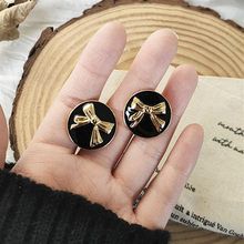 Fashion Black Retro Round Metal Elegant for Women Bowknot Bow small Stud Earrings Fashion Jewelry Gifts Bijoux