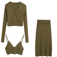 2020 NEW Summer Women 3 pieces knitted suit brown solid full sleeve shirt short vest mid-calf skirt Suit casual woman clothes