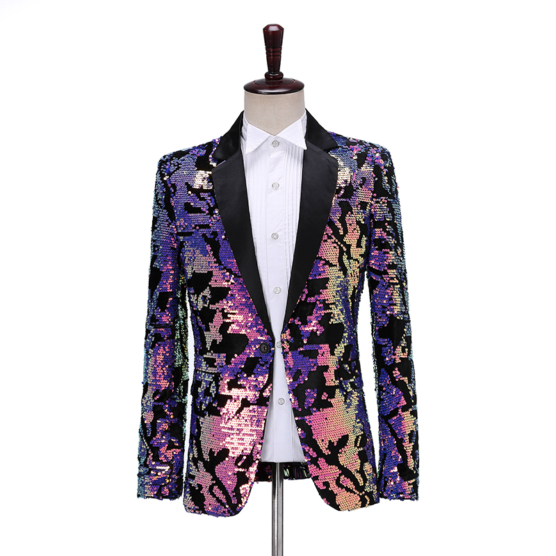 Fashion Flip Sequins Men Suit Jacket Casual Shawl Lapel Slim Fit Blazer Party Stage Singer Dancer Magician Sparkly DJ Suit Coat
