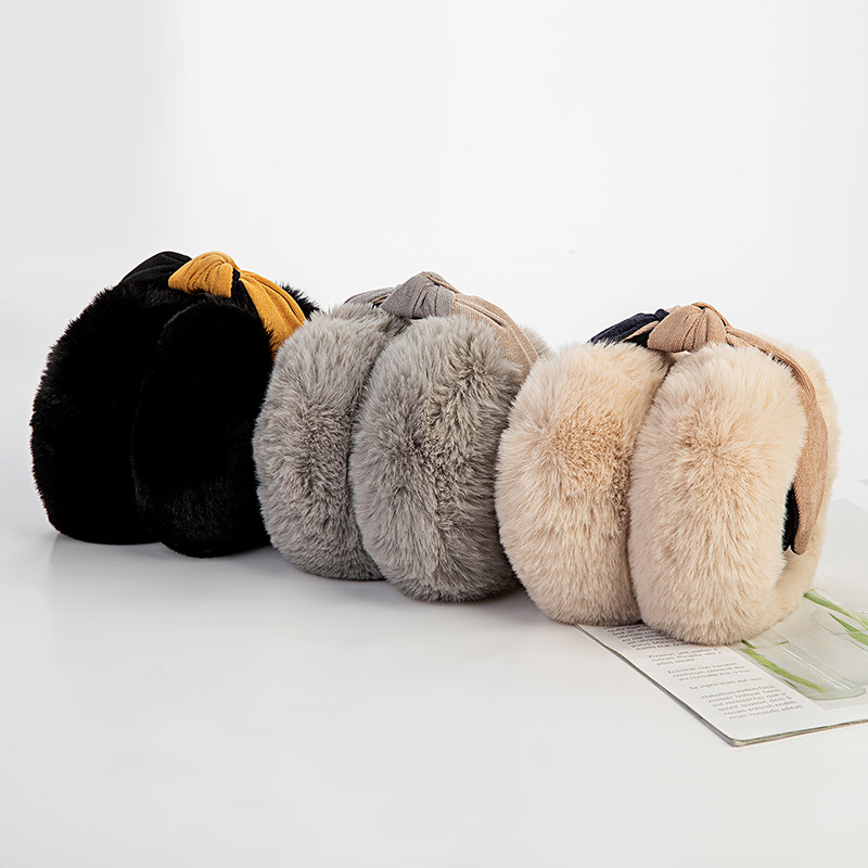 Two-Color Elegant Rabbit Fur Winter Earmuffs For Women Warm Earmuffs Fashion Adjustable Ear Warmers Gifts For Girls Cover Ears