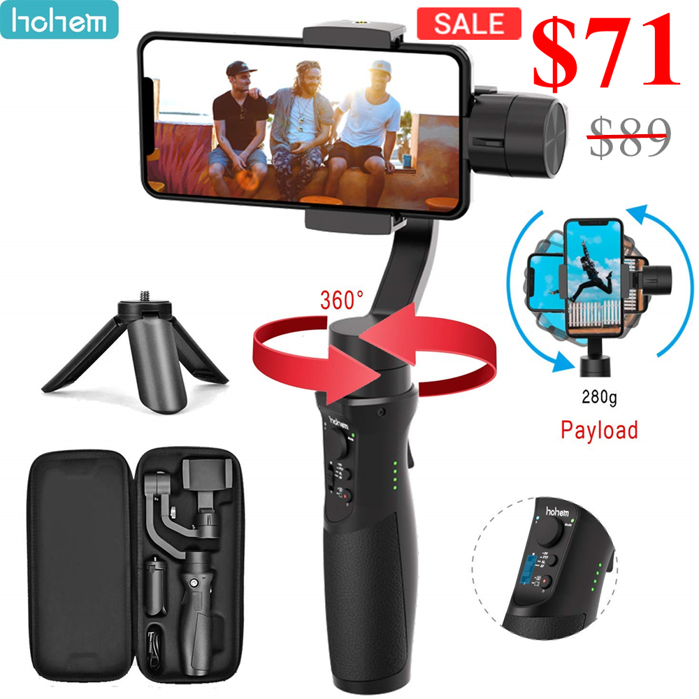 Hohem ISteady Mobile Plus Handy Gimbal 3-Axis Handheld Stabilizer For Smartphone IPhone 11/11 Pro/X XS Samsung S10, S9, Note 9/8