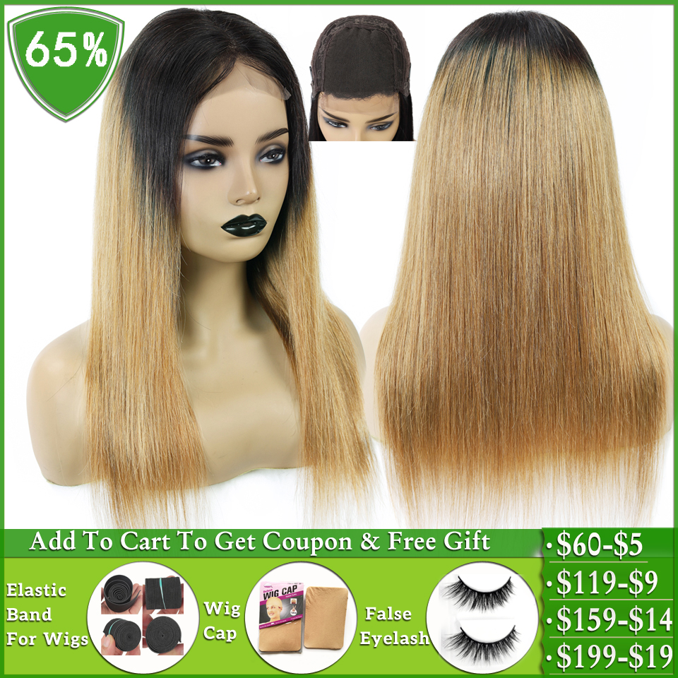 LEVITA T1b/27 Honey Blonde Ombre Human Hair Wig Brazilian Straight 4x4 Lace Closure Wig Human Hair Wigs For Women Non-remy