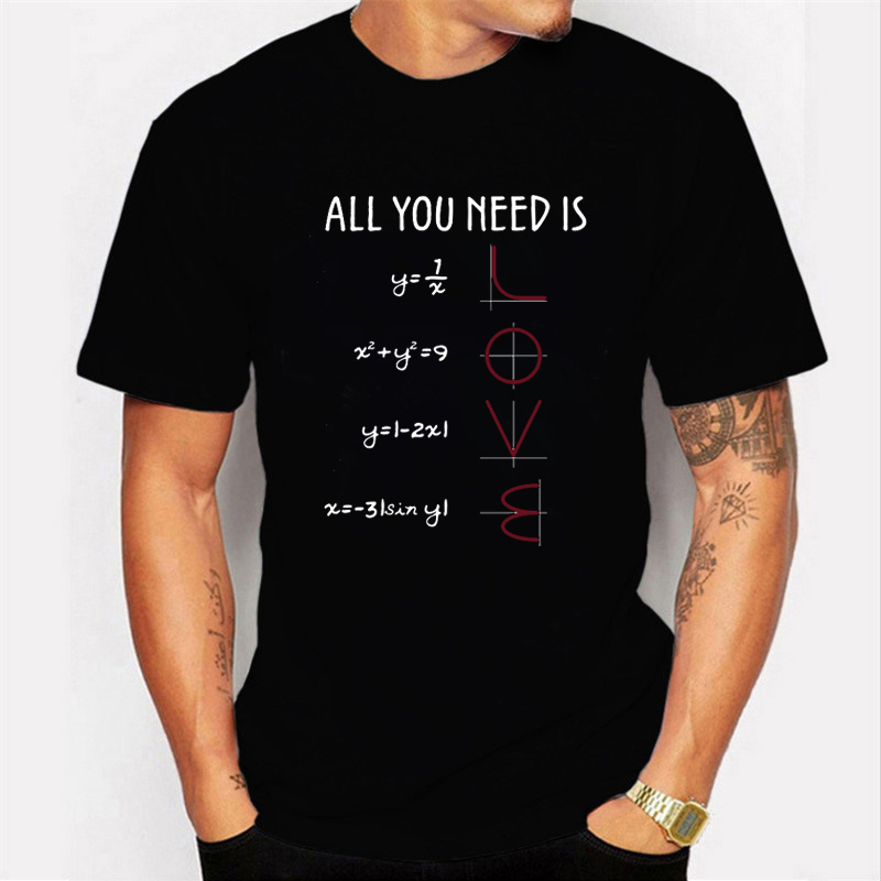 Funny Mathematics Pun Pattern Tshirt Short-sleeved Cotton T-Shirt Japanes Men Tee Shirt Women Tee All You Need Is Love Equations