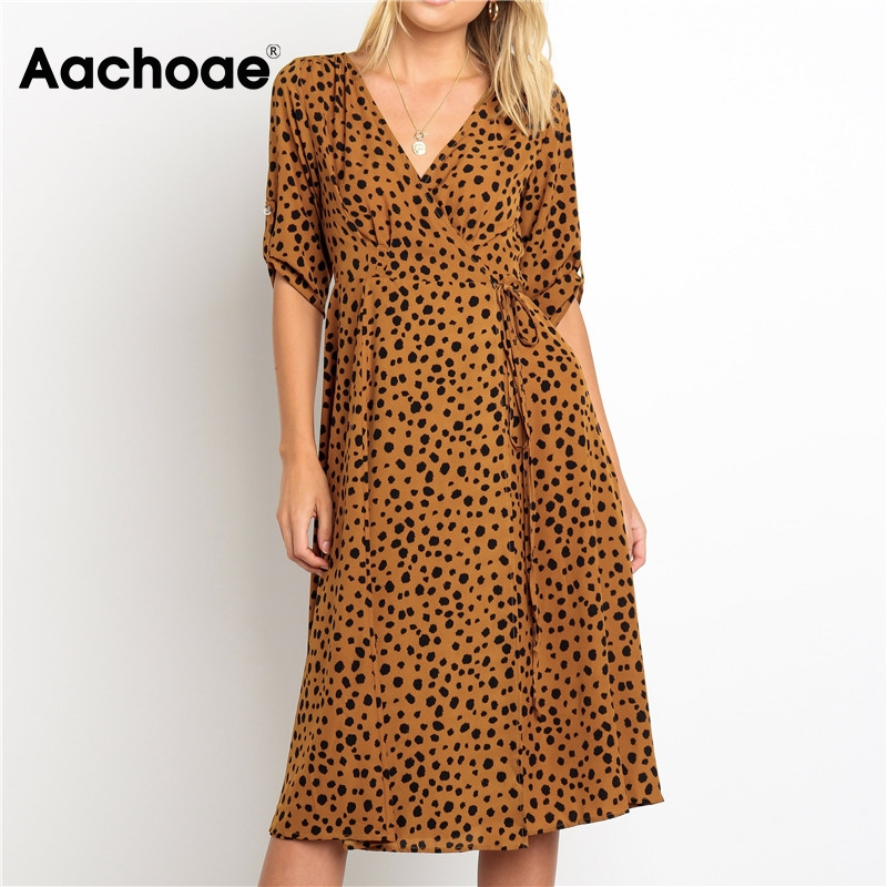 Aachoae Women Fashion Leopard Print Long Dresses 2020 Spring V Neck Elegant Party Dress Female Half Sleeve Vintage Casual Dress