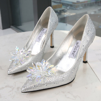 2020 Crystal Slipper High Heel Shoe High Heels6-8CM Women Shoes Pointed Toe Crystal Bling Silver Female Shoes Party Wedding Shoe